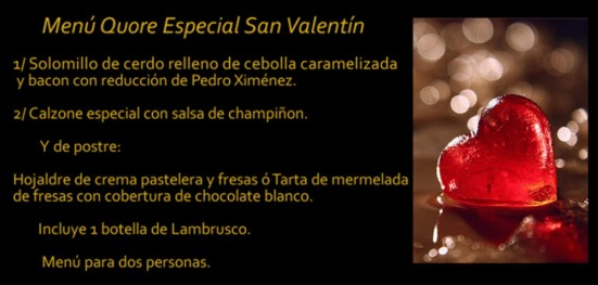 Menú Quore San Valentin La Alacena